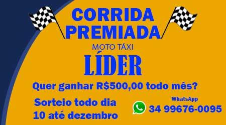 MOTOTÁXI LÍDER SORTEARÁ R$500,00 POR MÊS - CLIQUE AQUI E SAIBA MAIS